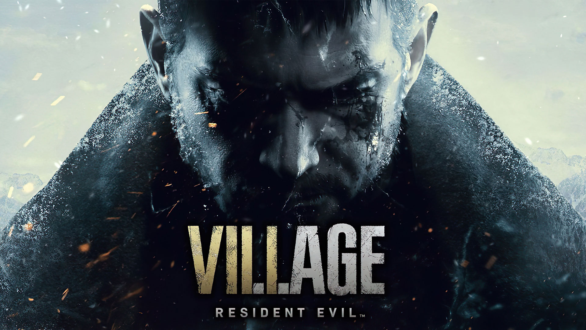 کریس ردفیلد در بازی Resident Evil 8: Village در حالی که سر خود را پایین انداخته است و کت کلفت به تن دارد