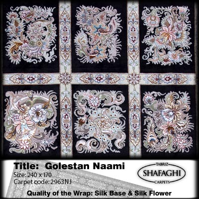 فرش و قالیچه ی شفقی تبریز-Title: Golestan Naami-Quality of the Wrap: Cotton Base & Silk Flower-Size: 240*170 -No. of rows: 50 No. of knots-Design:Benaam-Carpet code: 2963NJ-Manufacturer-Person-Hour-A product of SHAFAGHI carpets