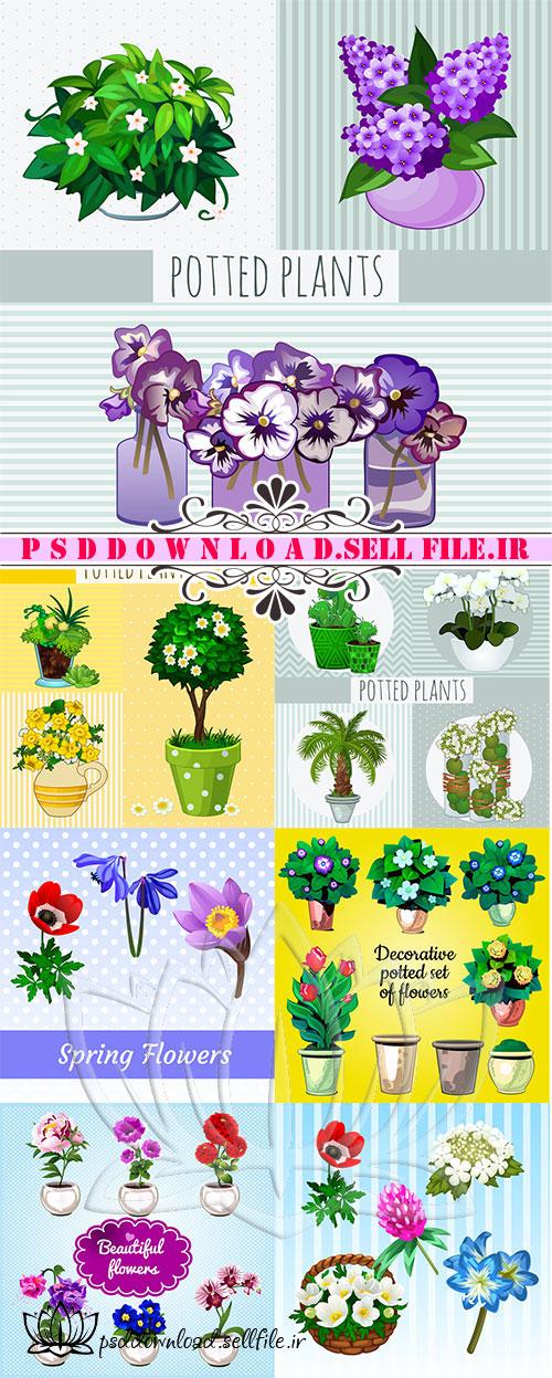 وکتور گل و گلدان دکوراتیو