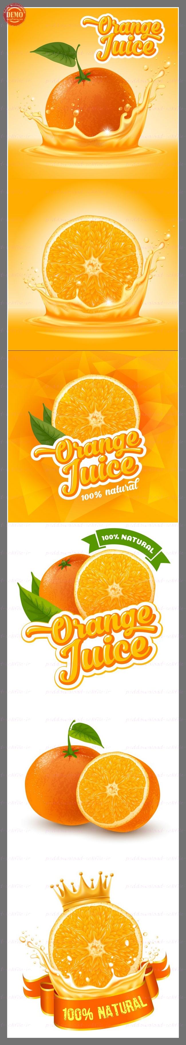 وکتور برچسب آب پرتقال