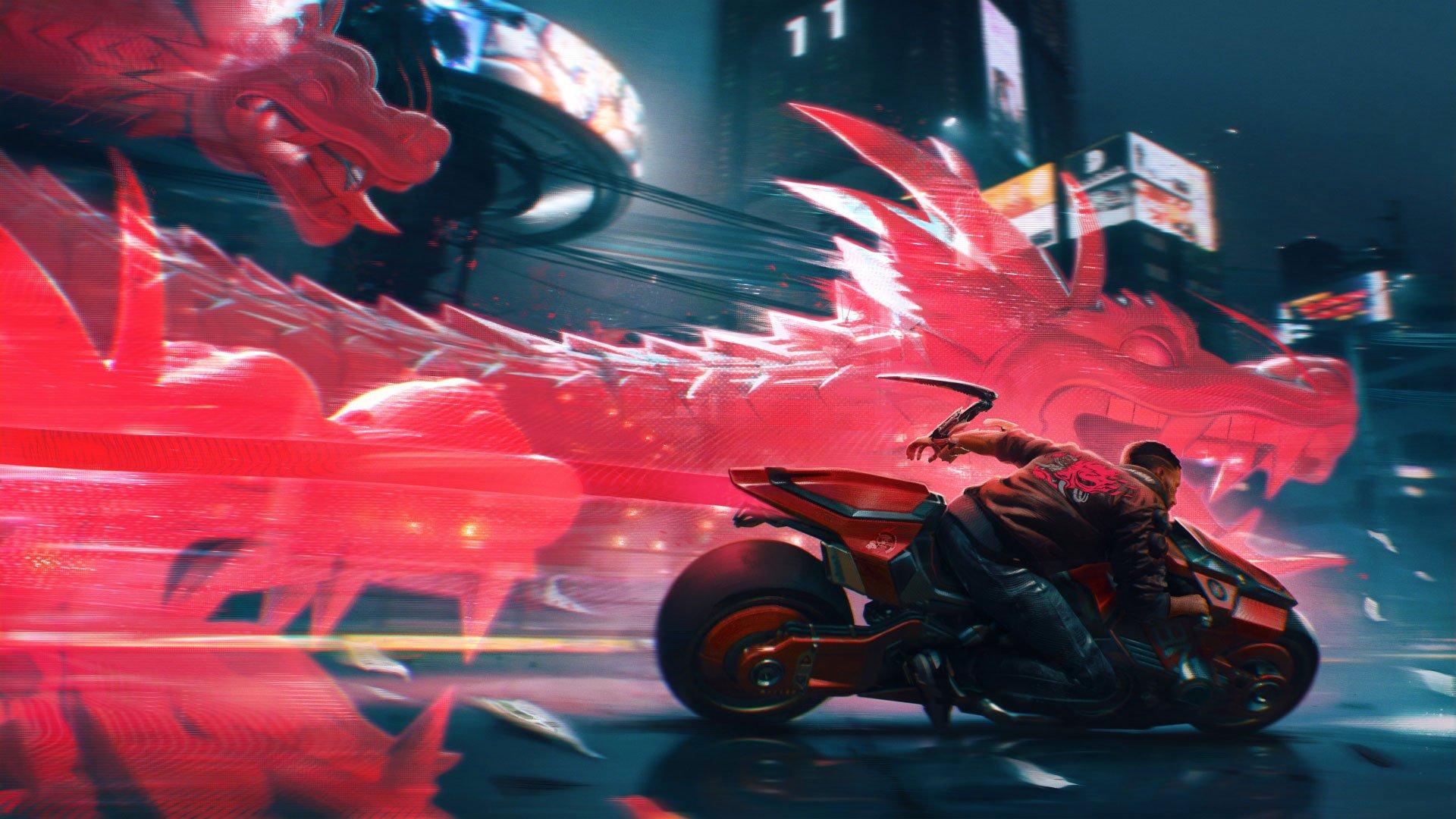 شخصیت V درحال موتورسواری در تصویر هنری بازی Cyberpunk 2077 با حضور یک اژدها دیجیتالی