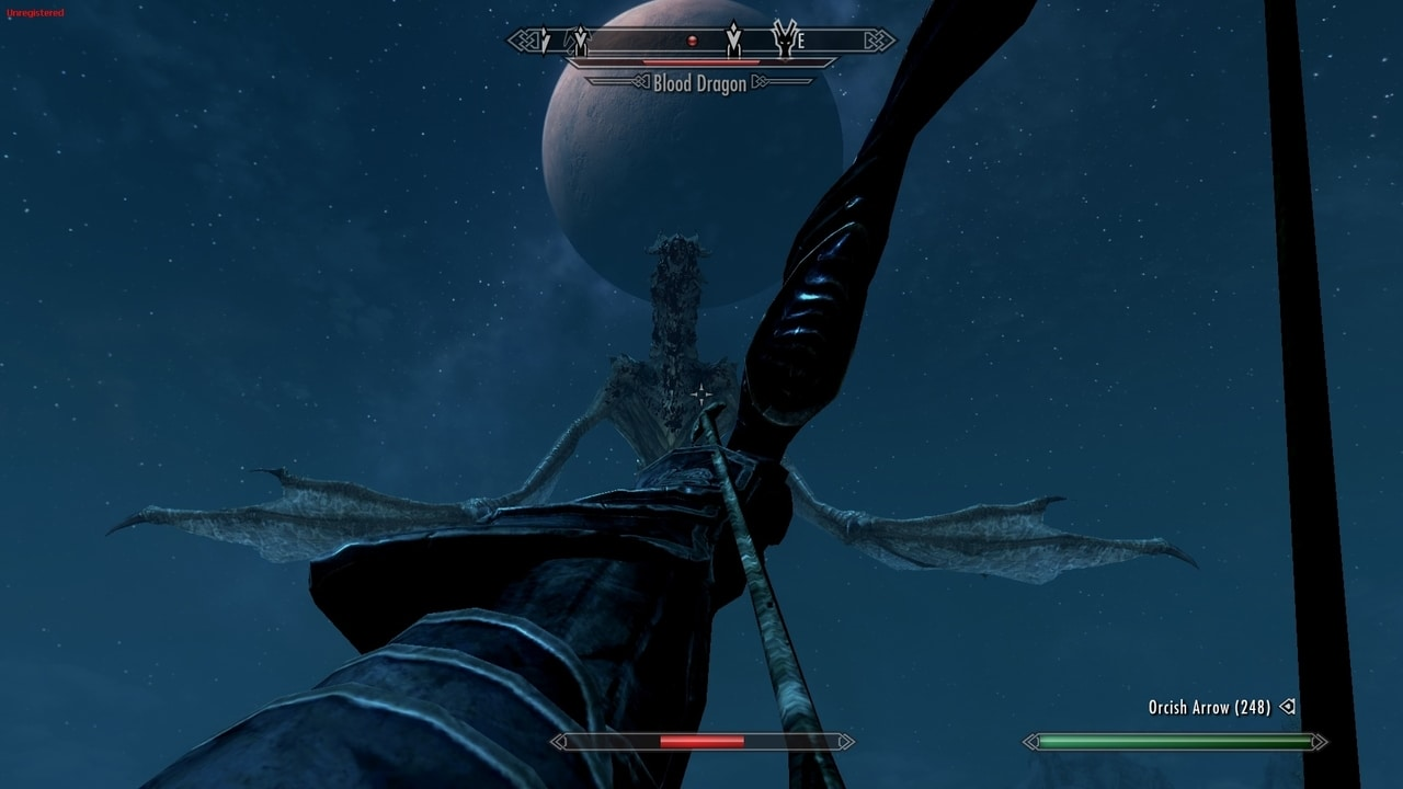 skyrim-first-person-dragon-epic-bow-fight-night-moon
