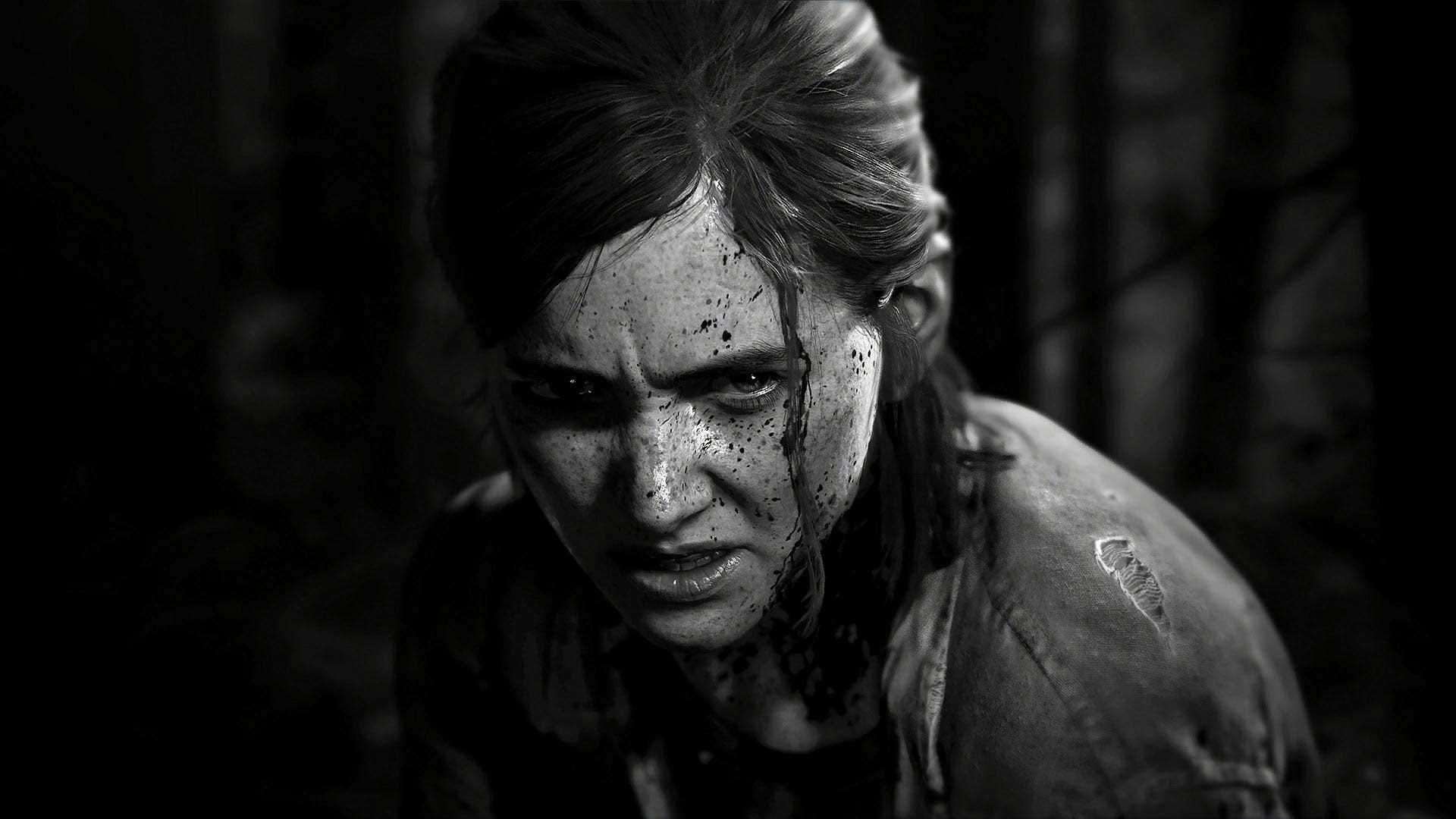 چهره خشمگین الی در تصویر سیاه و سفید و دیدنی بازی The Last of Us Part II استودیو ناتی داگ به کارگردانی نیل دراکمن