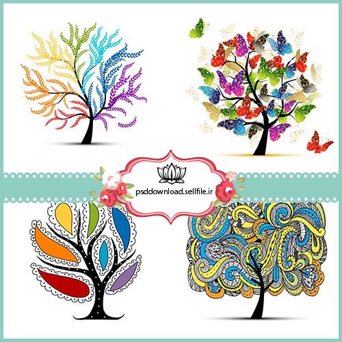 وکتور درخت چهار فصل