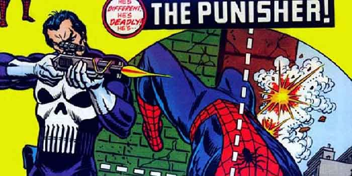punisher aiming at spider-man