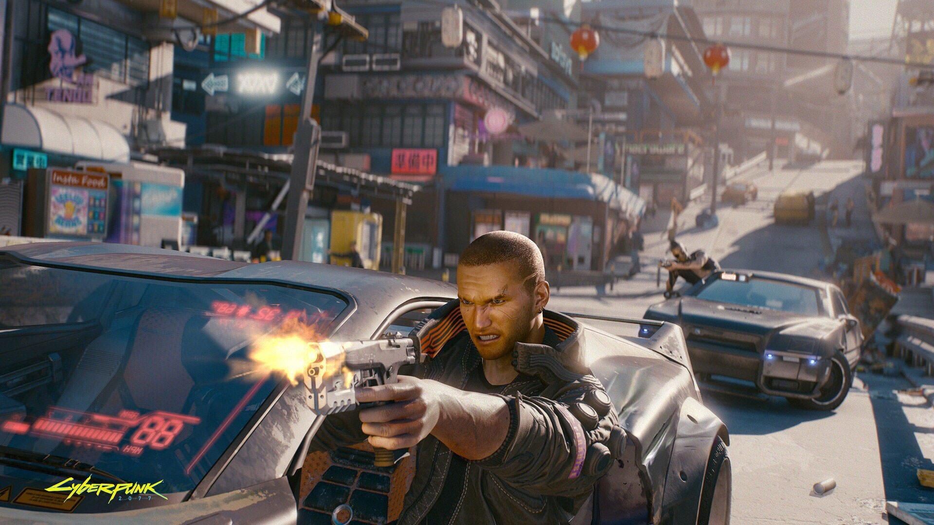 گیم پلی بازی Cyberpunk 2077 و مردی که در خیابان از داخل ماشین به سمت بیرون با تفنگ شلیک میکند