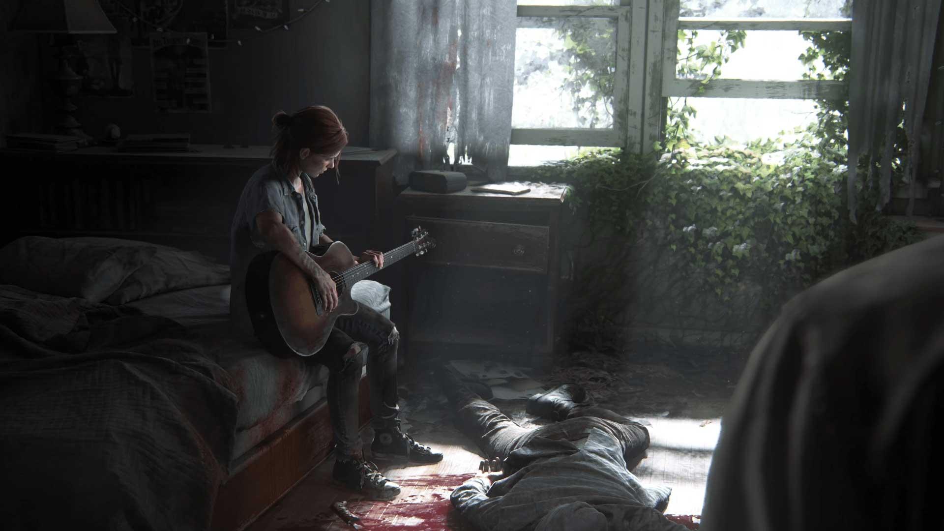 الی غمگین با گیتار کنار پنجره و مقابل جول در نخستین تریلر بازی The Last of Us Part II