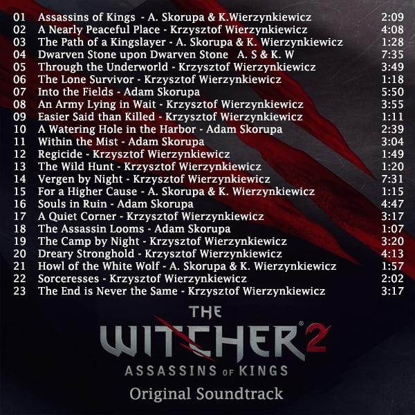 the witcher 2 assassins of kings soundtrack list