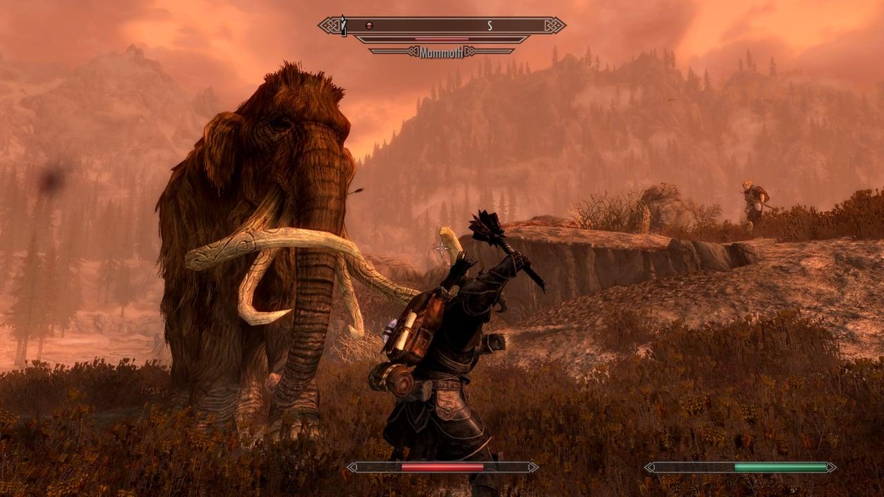 skyrim-mammoth-fight-mace