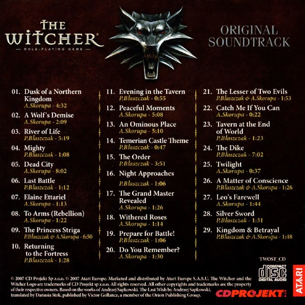 the witcher 1 video game soundtrack list