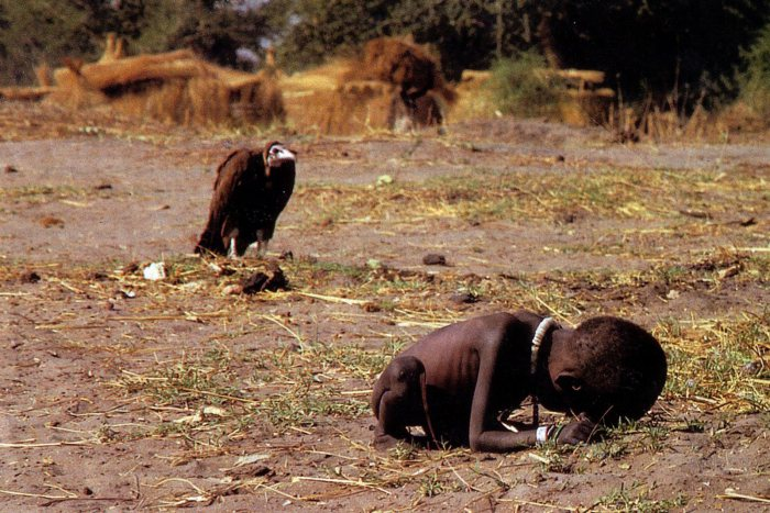 عکس لاشخوری در انتظار مرگ دختربچه سودانی